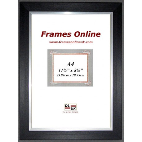Flat Black Silver Picture Frame A4 Size