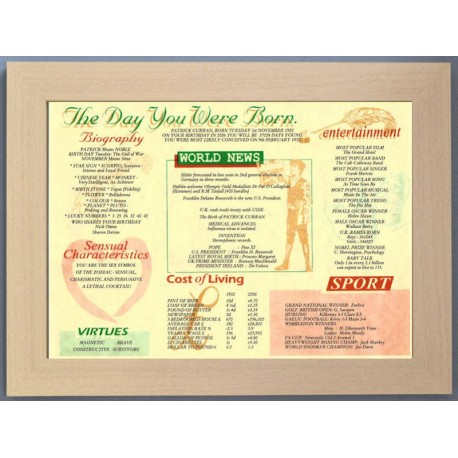 Scottish Day You Were Born -  Beech Style Frame