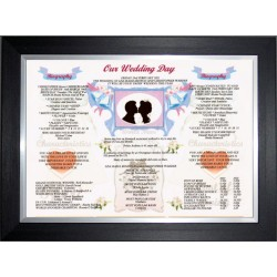 UK Our Wedding Day - Premium Frame Black Silver Modern