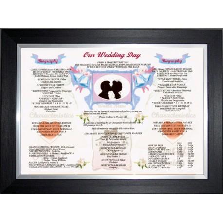 UK Our Wedding Day - Premium Frame Black Silver Modern