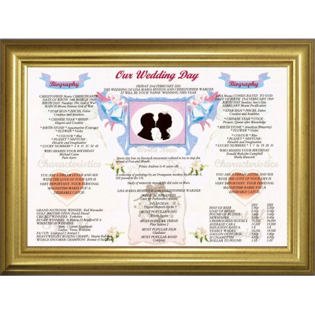 UK Our Wedding Day - Premium Frame Dome Gold Modern