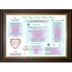 Scotland Baby Day You Were Born - Premium Trad Teak Wood Frame - Baby