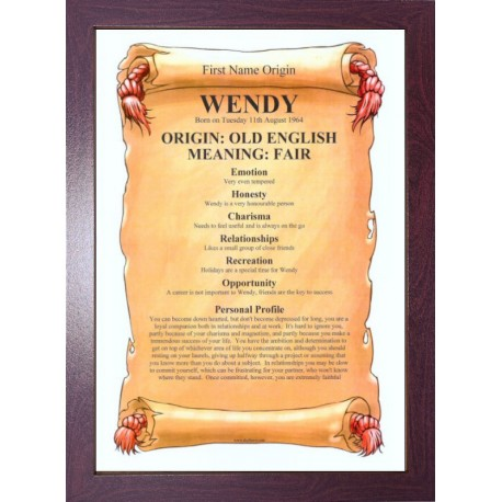 USA First Name Origin Meaning - ECO Brown Frame Style 1
