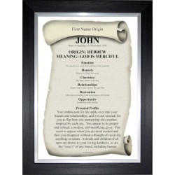 USA First Name Origin Meaning - Black Silver Frame Style 2