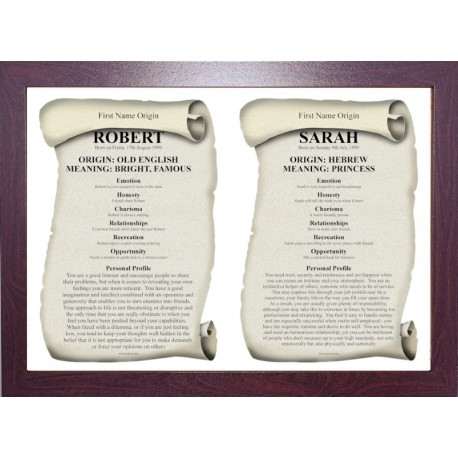 USA Dual First Name Origin Meaning - ECO Brown Frame Style 2