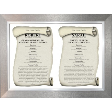 Dual First Name Origin Meaning -  Premium Pewter Silver Frame Style 2