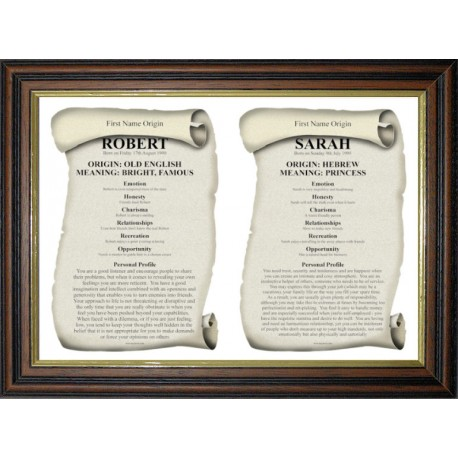 UK Dual First Name Origin Meaning - Premium Trad Teak Wood Frame Style 2