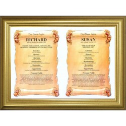 USA Dual First Name Origin Meaning - Premium Gold Frame Style 1