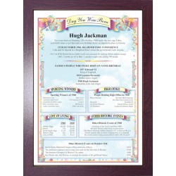 Australia Birthday News Certificate - ECO Brown Frame