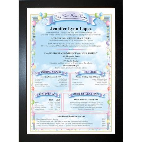 USA Birthday News Certificate - ECO Black Frame