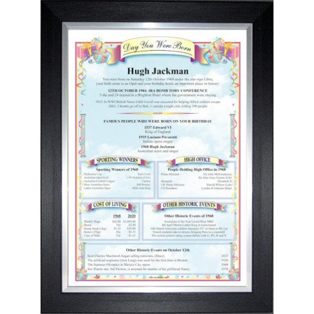 Australia Birthday News Certificate - Premium Black Silver Frame