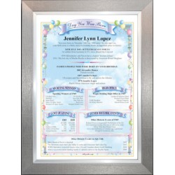 USA Birthday News Certificate - Premium Pewter Silver Frame