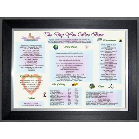 The Day You Were Born - Black Silver Frame